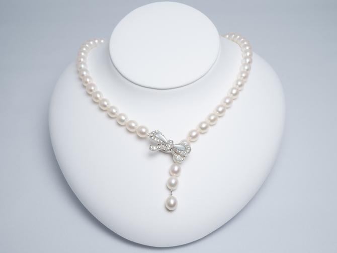 10120105-湖水真珠リボンクリップネックレス